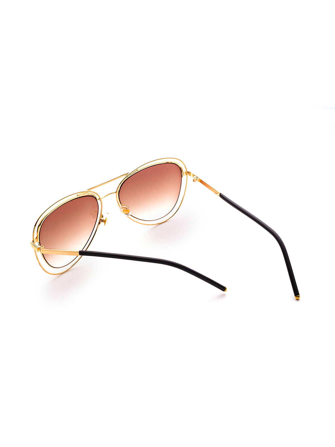 257a8b25c0f91 Double Gold Framed Aviators Featuring Brown Coloured Lens on Luulla