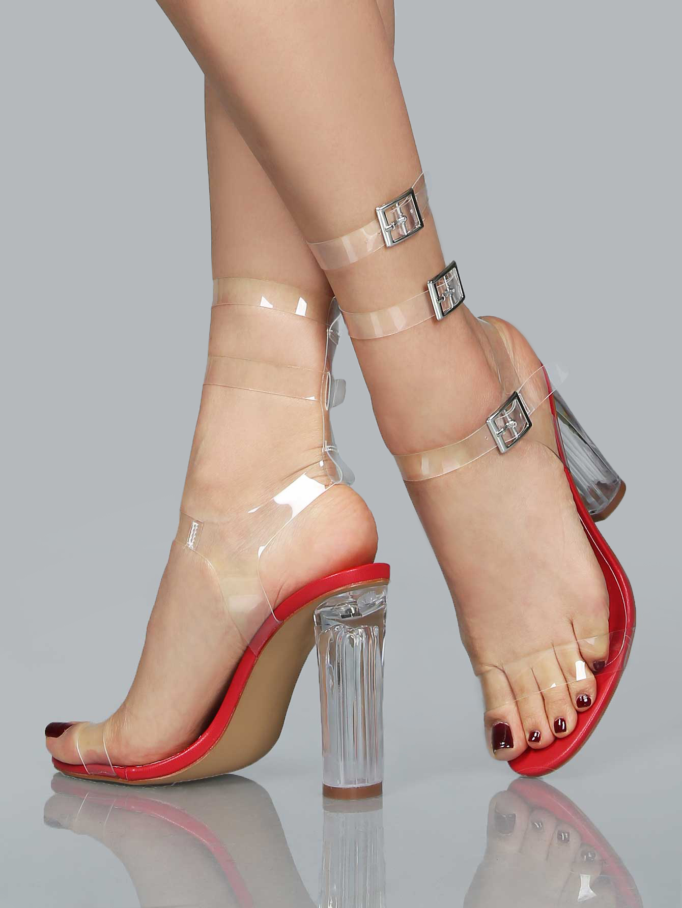 492f7646425 Clear Double Strap Chunk Heel Sandals RED on Luulla